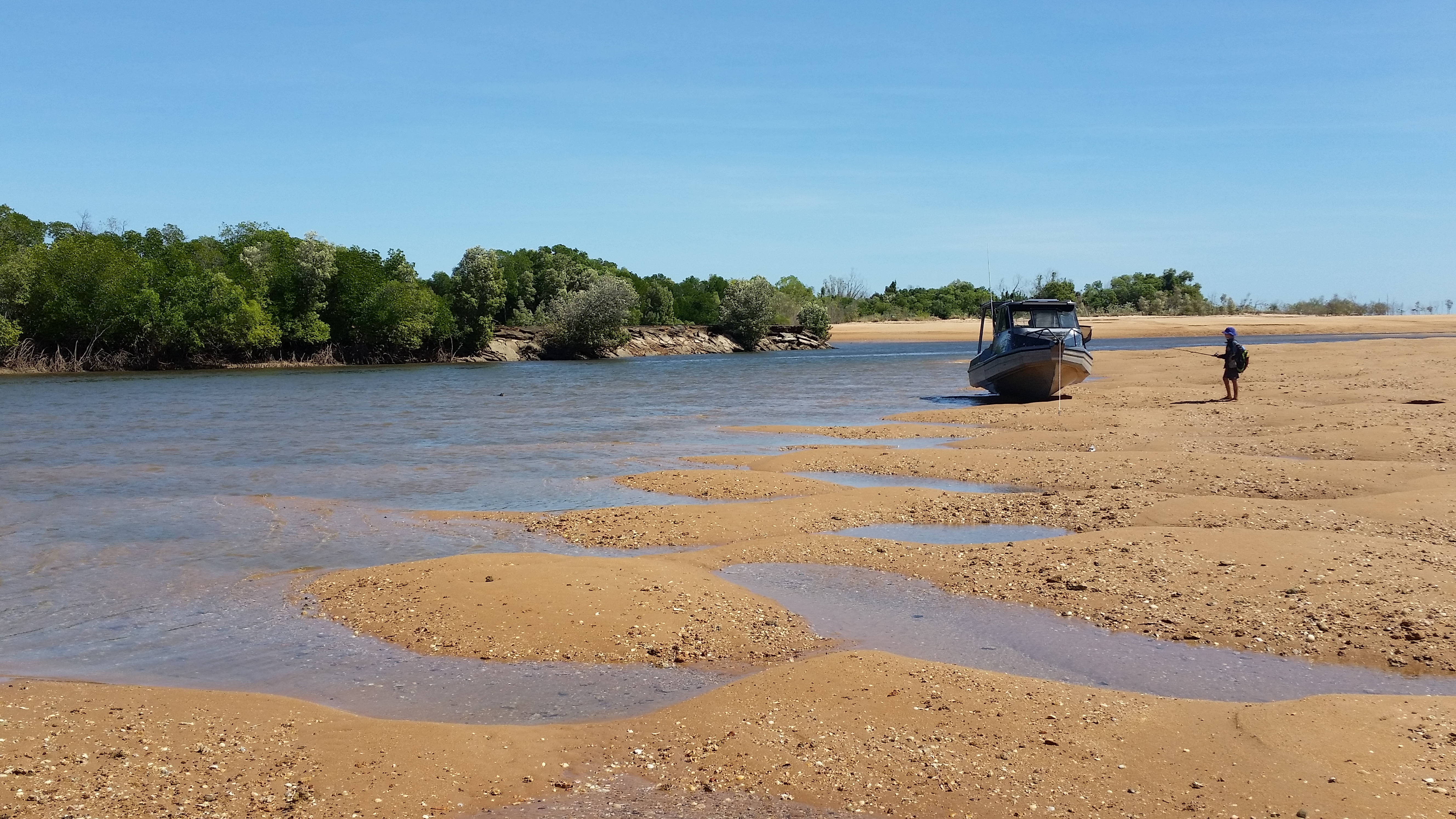 Our 7.5m Stabicraft at a remote camp in the NT
