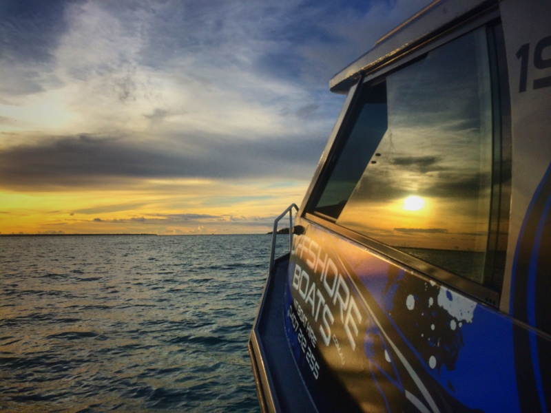 Sunset aboard our Stabi!