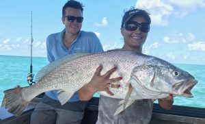 Gabby with a thumping Black Jewfish with offshore Boats fishing charters